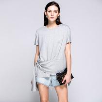 April 9th/四月初九加大码女装胖MM2019夏独特系带时尚T恤 两色