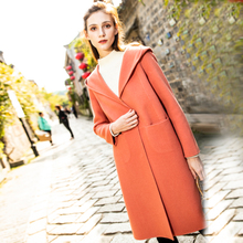 April 9th/April 9th XL women's fat MM2018 winter 100% wool hooded double-faced coat