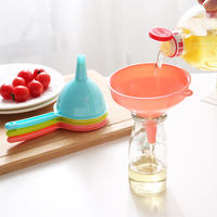 Colorful multi-purpose plastic funnel large long handle small household kitchen soy sauce wine oil pot liquid dispensing tool