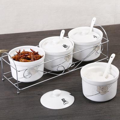 创意陶瓷调味罐调味瓶 调料罐瓶作料盒油盐罐带盖子勺子厨房用具