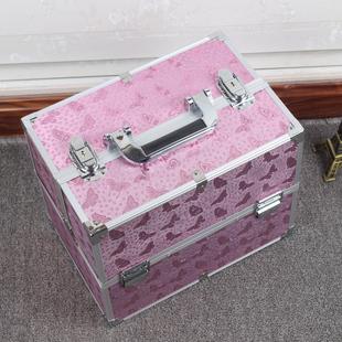 新款带锁铝合金化妆包定型防水化妆箱专业特大号大容量手提收纳包