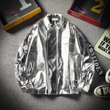 Male and female students silver gold glossy jacket youth couple INS leather hip hop dance stage PU jacket