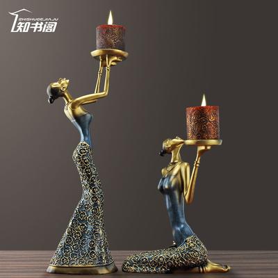 欧式复古蜡烛台烛光晚餐道具浪漫灯餐桌摆件小装饰品香薰家用创意