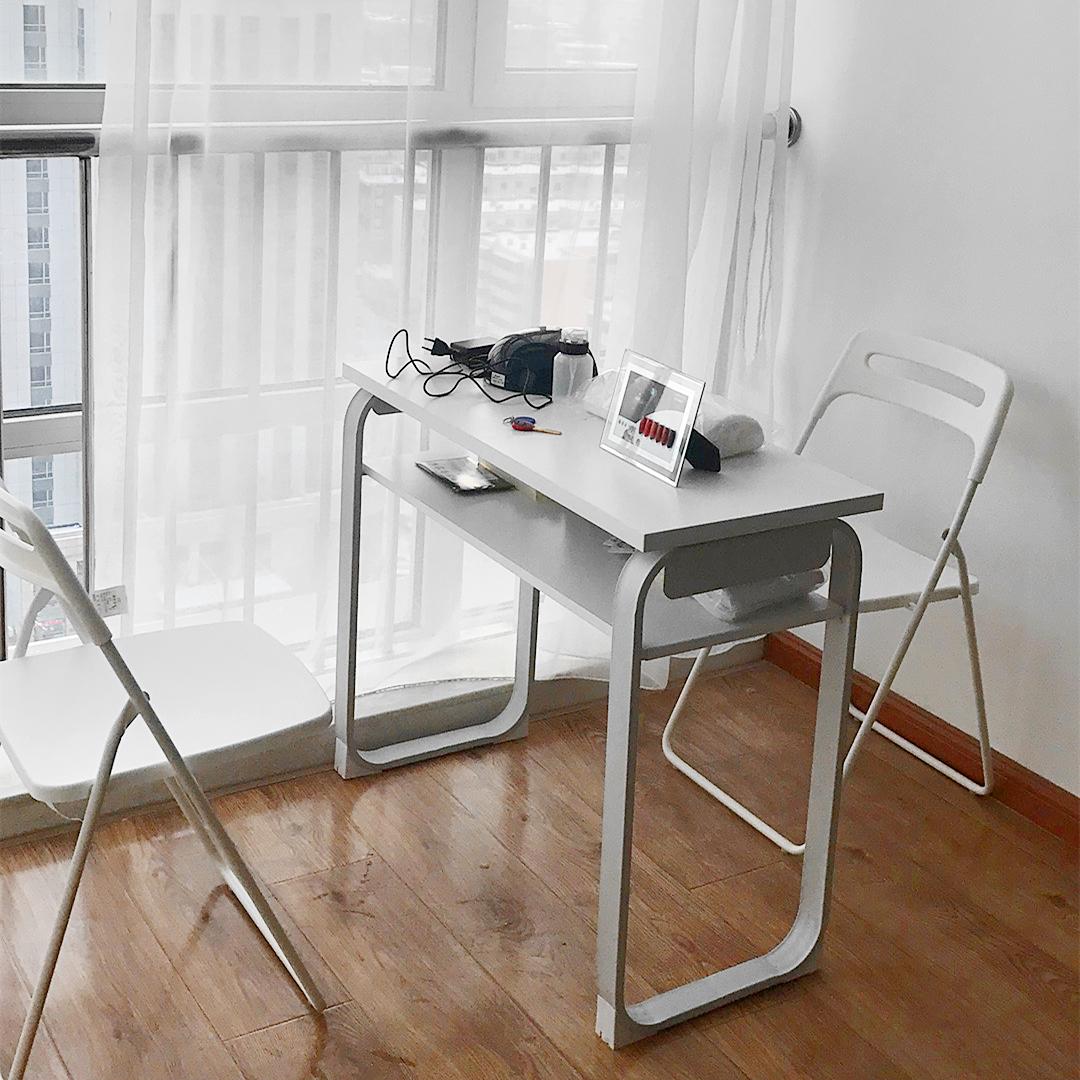 现代简约美甲桌子双人日式美甲店桌子特价包邮美甲桌椅套装美甲台