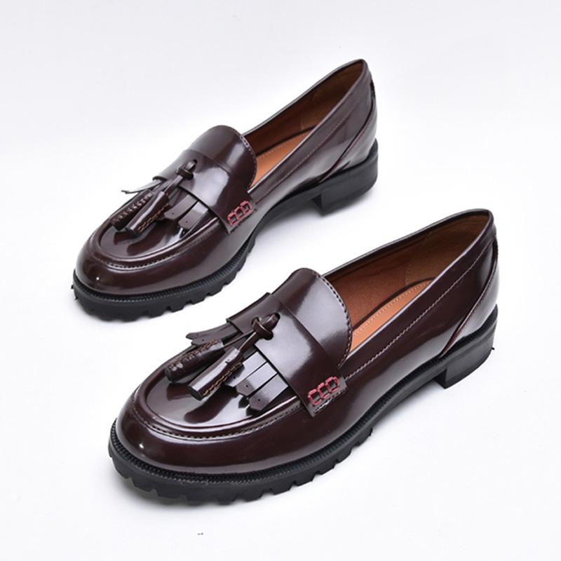 英伦女鞋复古圆头低跟