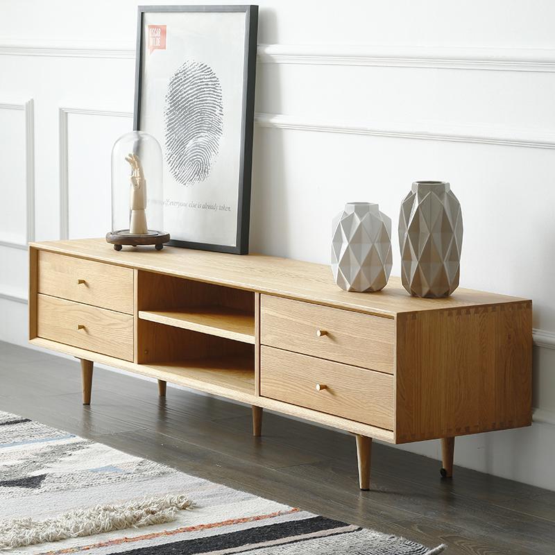 木也家具实木北欧电视柜组合简约白橡木卧室主卧日式原木电视机柜