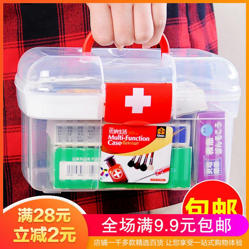 家庭用小药箱保健医药箱大号家用透明带提手急救箱药物盒收纳箱子
