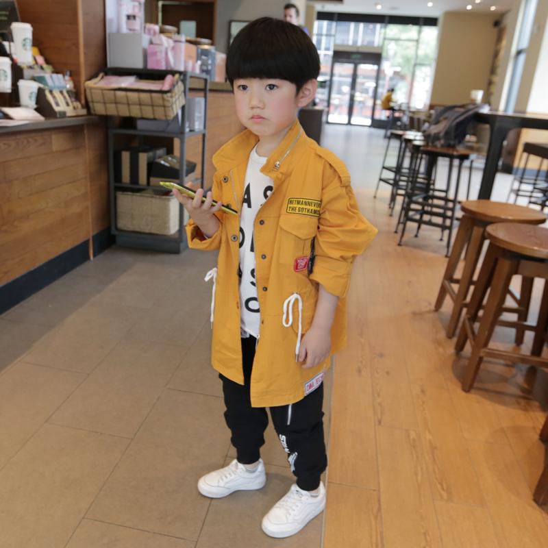 男童纯棉风衣外套2018春装新品中大童贴标收腰拉链上衣啦芙莱童装