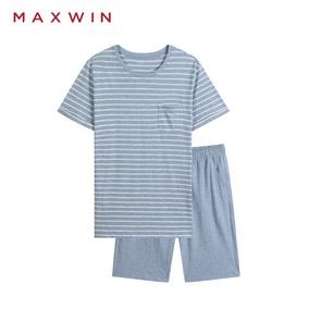 MAXWIN睡衣男夏纯棉宽松短袖短裤薄款休闲条纹家居服男夏季套装