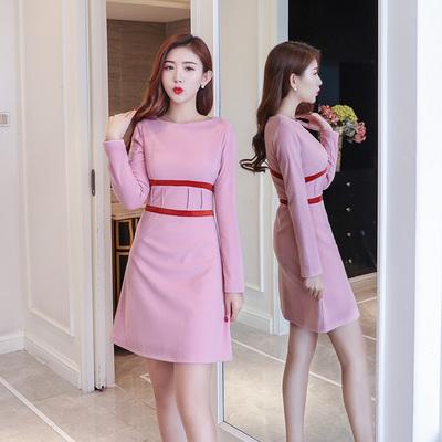 2017冬装新款加厚保暖圆领收腰撞色加厚毛呢连衣裙女韩版打底裙