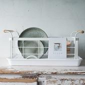 出口日本北欧木铁碗架沥水架厨房置物架收纳盘子沥晾洗滤放碗筷盒