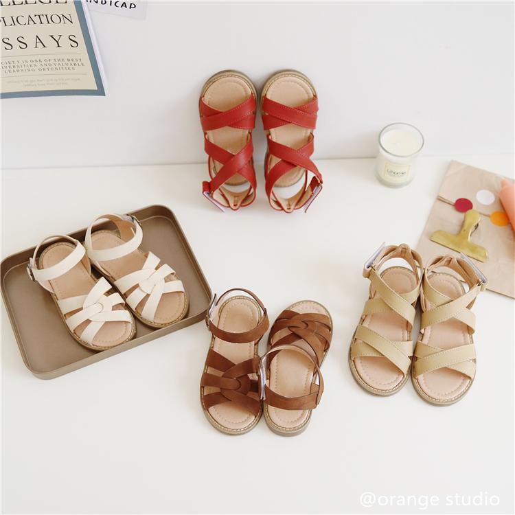 橙子童装韩国童鞋女童夏季新款文艺复古软底交叉魔术贴凉鞋鞋子