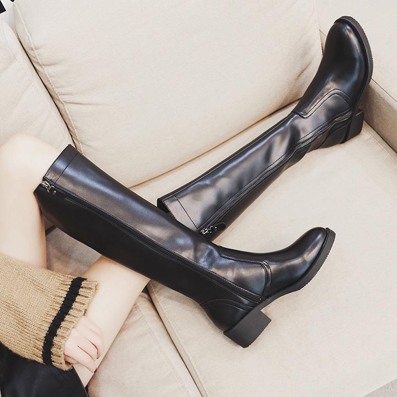 欧美新款冬季圆头粗跟中跟高筒靴女式及膝靴帅气骑士靴长靴长筒靴