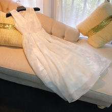 French elegant gown with noble temperament white Eugene yarn embroidered high waist dress
