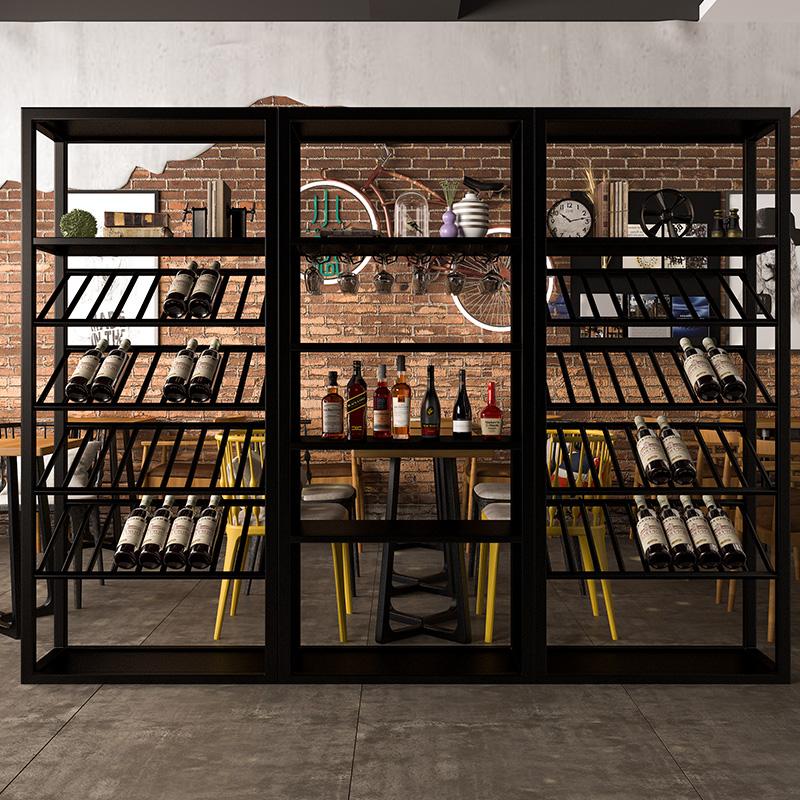 美式复古红酒架摆件铁艺高档红酒展柜展示架陈列柜货柜工业风酒柜