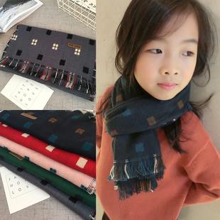 秋冬季儿童围巾宝宝保暖流苏英伦格子2-11岁小孩韩版围脖针织围巾