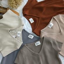 V领短袖 40410 针织衫 显瘦短款 三件 KK1 上衣女修身 包邮 新款 夏装