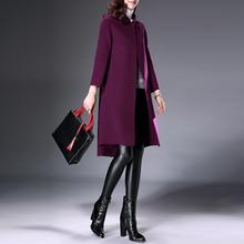 2018流行新款双面呢大衣女中长款羊毛大衣双面绒羊毛呢外套冬宽松