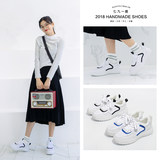 Seven nine one deer leather white shoes 2019 spring new mesh sports shoes shoes students thick sole shoes