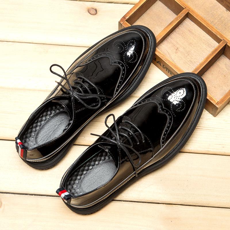 潮鞋韩版潮流布洛克款式雕花皮鞋漆皮亮面尖头男士低帮休闲鞋英伦1元优惠券