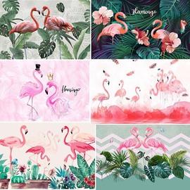 北欧火烈鸟壁纸ins粉色网红抖音自粘墙纸服装美容院背景壁画墙布图片