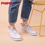 HOZ后街牛皮拼接帆布鞋子女2018新款百搭韩版学生潮流男休闲板鞋