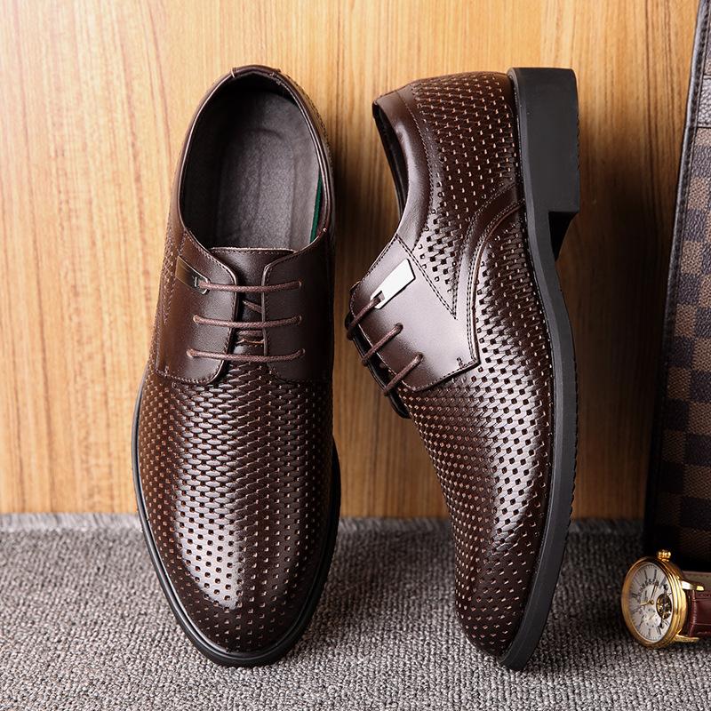 高端品质2019夏季青年男士凉鞋洞洞鞋透气青中年男子真皮凉皮鞋