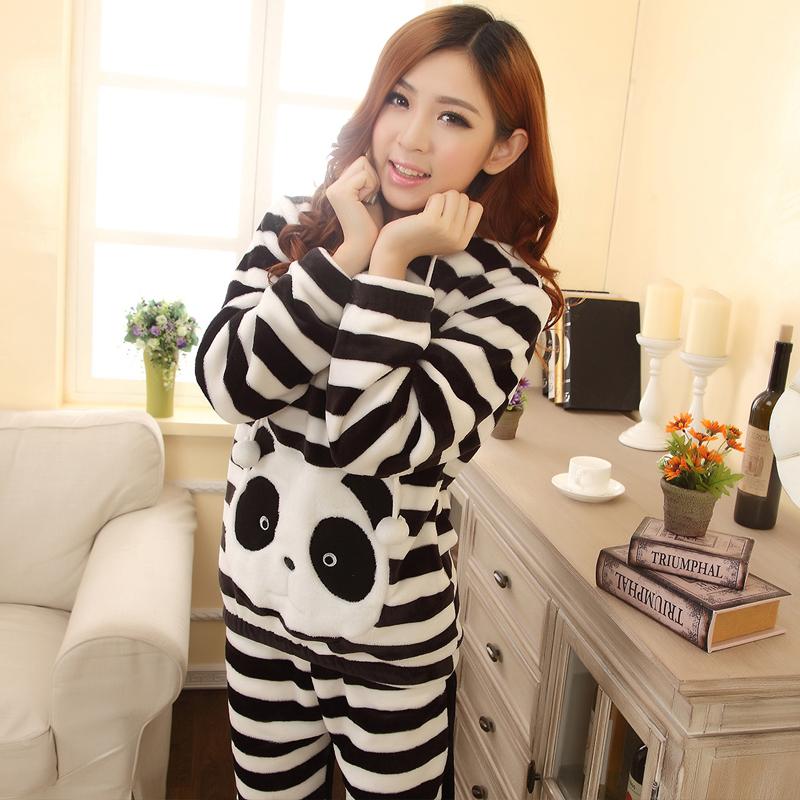 香港康谊新款珊瑚绒睡衣女秋长袖卡通熊猫加厚法兰绒家居服女