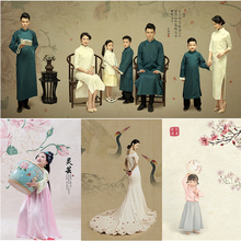 中国风古典工笔画古装拍照主题旗袍写真影楼摄影背景画意全家福