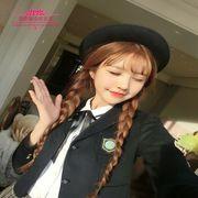 韩国女生麻花辫长直发假发双辫子演出舞台空气刘海双马尾整顶发套