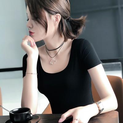 莫代尔短袖t恤女夏修身黑色百搭大码女装纯色大圆领体恤打底上衣