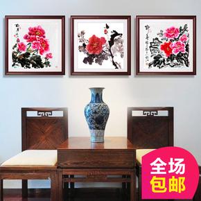 新中式牡丹花鸟国画装饰画客厅现代有框画花开富贵三联画挂画壁画