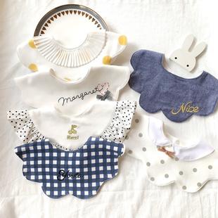 寶寶口水巾360度旋轉嬰兒圍嘴日系加大圓形純棉防吐奶圍兜假領子