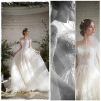 婚纱2017新款冬季新娘韩版公主梦幻小拖尾长袖一字肩齐地婚纱礼服