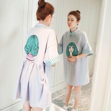 孕妇春装夏装上衣2019新款韩版中长款短袖孕妇连衣裙时尚夏天裙子
