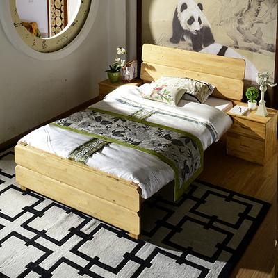 现代简约全实木床单人床成人床1.35米儿童床柏木原木简易小床家具