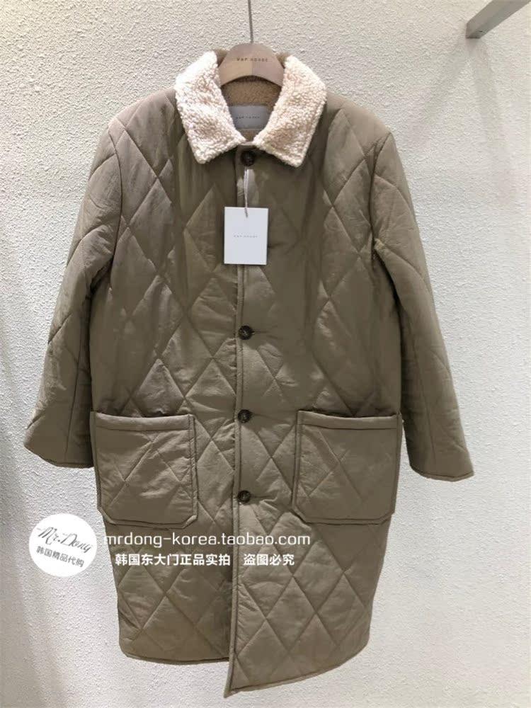 东大门韩国男装代购18潮流羊羔毛内里格子扎线中长款棉服大衣外套