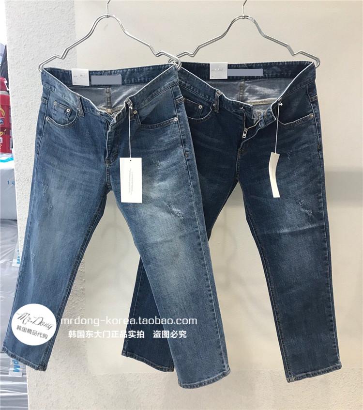 东大门韩国男装代购实拍手工刮烂磨白锥形水洗修身小脚牛仔裤19