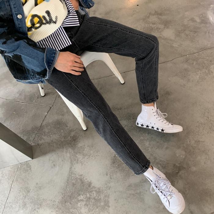 韩国东大门男装代购创意泛白拼接微弹显瘦修身九分小脚牛仔裤0917