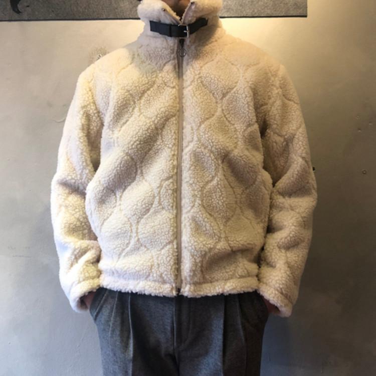 东大门韩国男装代购个性几何扎线高领防风羊羔毛秋冬夹克外套18