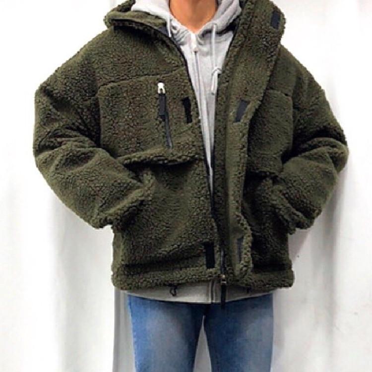 东大门韩国男装代购主打纯色羊羔毛面料宽松连帽情侣夹棉夹克外套