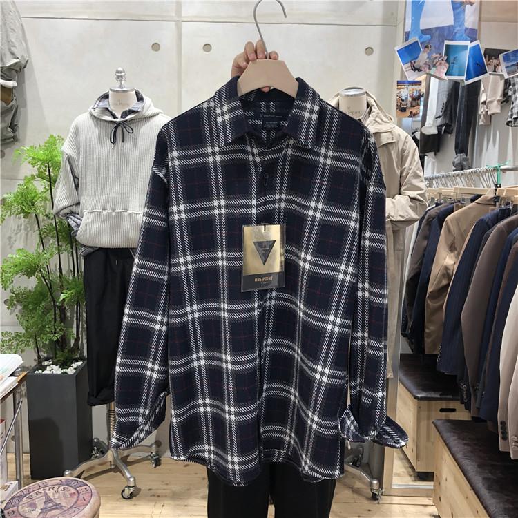 东大门韩国男装代购直播款式羊毛毛呢格子宽松休闲衬衫外套190927