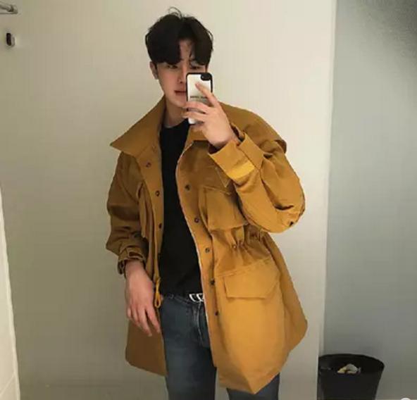 韩国东大门男装代购春季户外翻领工装多兜潮搭夹克外套抽绳收腰