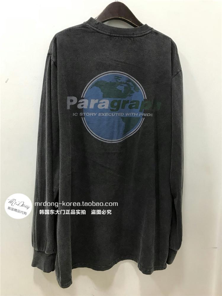 韩国东大门男装代购背部地球图案印花亲肤棉质宽松长袖上衣T恤