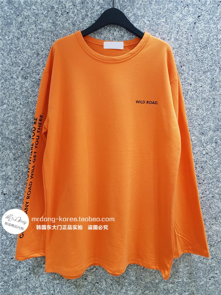 韩国东大门男装代购创意英文印花棉质亲肤宽松跨肩长袖上衣秋T恤