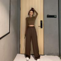 LGGSTYLE chic wind wild wide leg high waist straight trousers loose casual pants female 2019 summer new