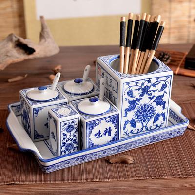 陶瓷青花调味罐仿古酱醋壶盐罐味精罐青花方形筷子筒面馆餐馆筷子