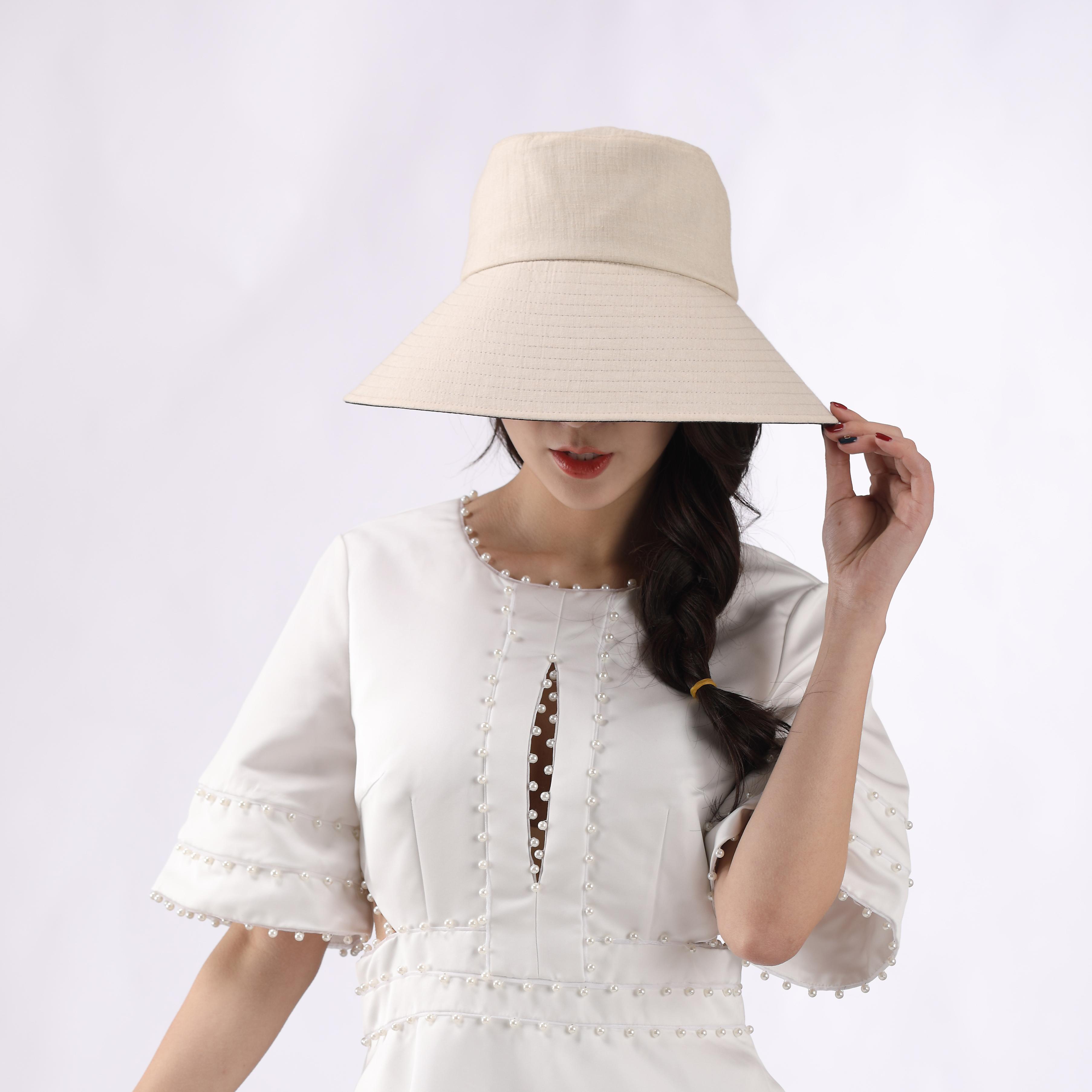 防紫外线太阳帽沙滩帽旅行帽黑色内里大帽沿女帽 夏季女士遮阳帽