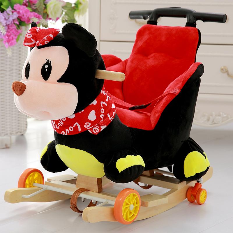 出口婴儿毛绒玩具木马推车宝宝早教益智拉杆摇马两用摇椅包邮5元优惠券