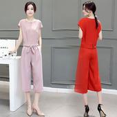 深依度2018春夏装新款女装两件套夏季短袖上衣阔腿裤套装701 FK-N